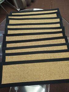 """Studio"" Sisal Gold/Multi, Handmade Custom Stair Treads Carpet (9"" x 29"") Qty 10"