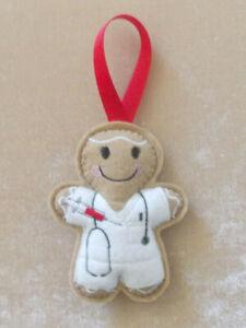 Phlebotomist Gingerbread Felt Embroidered Hanging Decoration Ornament