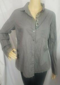 J. crew women beaded the boy shirt long sleeve cotton blouse size 10