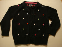 Baby Gap Toddler Girl's 3T Sweater Cardigan 100% Cotton Navy with polka dots