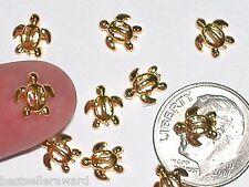 2pc Miniature dollhouse tiny Golden Little Turtle beads flatback craft findings