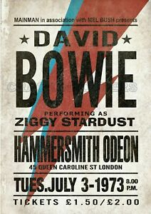 David Bowie Ziggy Stardust Hammersmith Concert Poster. 70's Glam Rock Music.