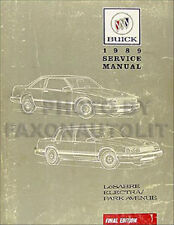 1989 Buick LeSabre Electra Park Avenue Shop Manual 89