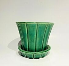 Vintage McCoy Pottery Green Fluted, Flared Flower Pot with Attached Saucer