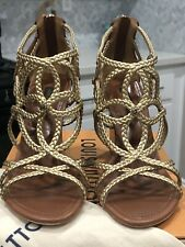Louis Vuitton Wedge Sandals Braided Gold Leather US Size 7 1/2 BRAND NEW!!