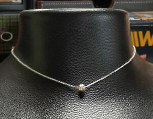 Dainty Sterling silver One Bead Necklace.