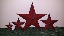 "Set of 4 Burgundy Barn Stars, 1x 12"", 1x 8"", 1x 5.5"", 1x 3.5"", Primitive, Metal"
