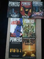 Powers 1-2, 4-6, 9-10 Lot of 7 Graphic Novels, English, Brian Bendis