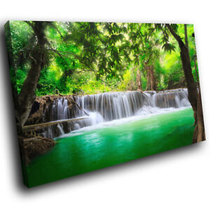 SC443 Green Waterfall Forest Nature Cool Landscape Canvas Wall Art Picture Print