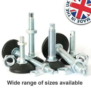 M8 M10 M12 Levelling Height Adjustable Machine Furniture Feet with Lock Nut UK