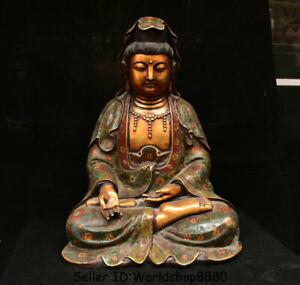"20.8"" Old Cloisonne Enamel Purple Bronze 24K Gold Gilt Kwan-Yin Guan Yin Statue"