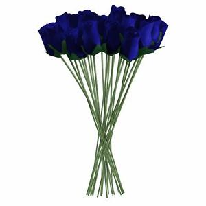 Dark Blue Realistic Wooden Roses 32 Count