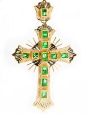 18K Yellow Gold Colombian Emerald Cross Pendant 40.0mm X 28.5mm