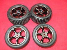 4 Traxxas BANDIT VXL tracer wheels Alias tires XL-5 brushless BLACK CHROME 2.2