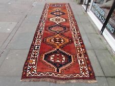 Old Traditional Hand Made Persian Oriental Wool Red Blue Long Runner 384x120cm