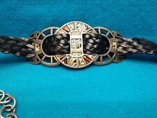 "CHICO's Metal Medallion Primitive Chain Belt ~ 40"" ~ Silver, Black, Red"