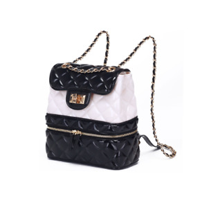 NEW! Mini Backpack Black and White Quilted Diamond Lattice PVC Jelly Gold Chain