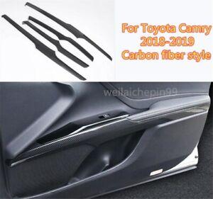 Carbon fiber Car Interior Door Stripe Decoration Trim For Toyota Camry 2018-2019