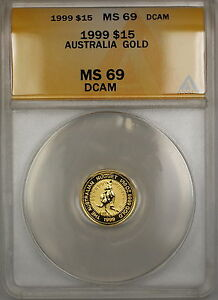 1999 Australia Nugget $15 Gold Coin ANACS MS-69 DCAM *Nearly Perfect GEM* SB