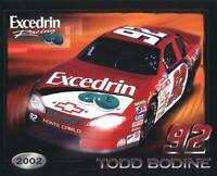 2002 Todd Bodine Excedrin Chevy Monte Carlo NASCAR Busch postcard