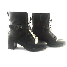 UGG Sz 8 Women Ingrid Black Combat Biker Boots Leather Sheepskin Lace Up