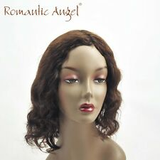 New Silky Soft Natural Wave Wigs 100% Indian Human Hair Wave Curly Brown Wigs