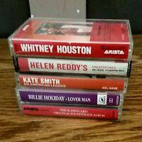 5 Cassette Lot~ Whitney Houston,Helen Reddy,Kate Smith,Billie Holiday,The BodyGu