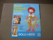 "1979 Vintage RONALD McDONALD HASBRO CLOWN ""DOLL SOLD HERE"" POSTER (Pull Toy)"