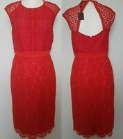 NEXT Red Pink Lace Mix Party Special Ocassion Shift Dress Size 12 EU 40 RRP £78