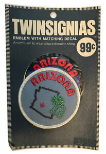 """1970'S ARIZONA USA SOUVENIR 3"""" PATCH WITH DECAL TWINSIGNIAS IN ORIGINAL PACKAGE"""