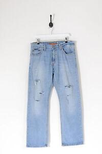 Vintage Levi's 514 Délavé Jeans Jambe Droite Bleu Moyen (W34 L30)
