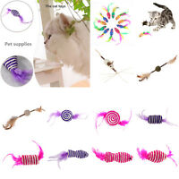 Mini False Mouse Ball Pet Cat Bite Toys Funny Playing Toys with Colorful Feather