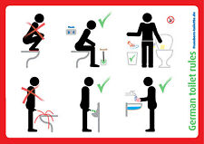 4xGerman toilet rules/etiquette,Sit down to pee,Use brush,WC-/Toilettenordnung