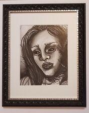 Dark Angel Framed Watercolor Painting