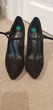 Black Womens High Heels Faux Suede Buckle Size 4 Primadonna Collection worn once