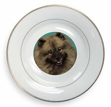 More details for keeshond dog gold rim plate in gift box christmas present, ad-kee1pl