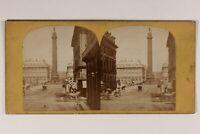 Francia Parigi Animato La Colonna Vendome c1865 Foto Stereo Vintage Albumina