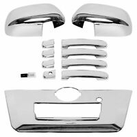 Triple Chrome Mirror+4 Door Handle+Full Tailgate Cover for 13-19 Nissan Frontier