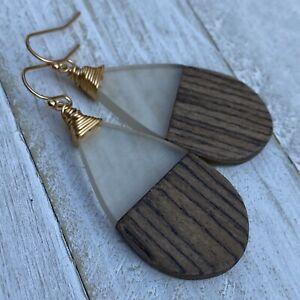 Min Favorit Wood & Clear Resin Teardrop W/ Gold Pl Artisan Drop Earrings