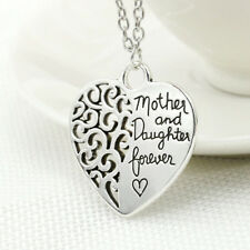 """Mother And Daughter Forever"" Family Necklace Pendant Love Heart Charm Hollow"