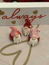 New ListingThree Valentine's Day Polymer Clay Gnomes , Fairy Garden Gnome
