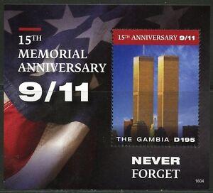 GAMBIA 2016 15th MEMORIAL  ANNIVERSARY 9/11  SOUVENIR SHEET MINT  NH