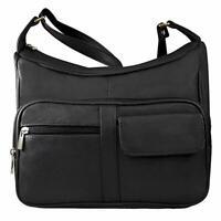Women's Leather Cross Body Shoulder Strap Organizer Leather Purse Handbag