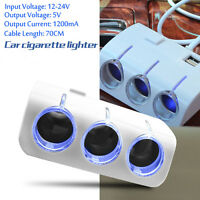 3in1 Car Cigarette Cigar Lighter Extension Cable Adapter Socket Charger Lead+USB