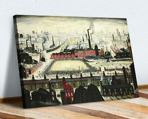 The Football Match CANVAS WALL ART PRINT ARTWORK PAINTING FRAMED LS Lowry Style