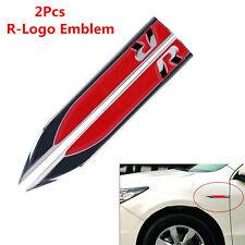 2pc Metal R Logo Car Exterior Side Fender Skirts Knife Badge Emblem Stickers RED