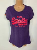 WOMENS SUPERDRY PURPLE PINK LOGO CASUAL SHORT SLEEVE CREW NECK T SHIRT SIZE L