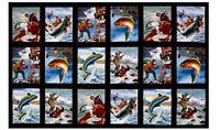 "Fishing Fish Sports Afield Black Cotton Fabric Elizabeths Studio 24""X44"" Panel"