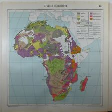 1929 ORIGINAL MAP ~ AFRICA GEOLOGICAL SAHARA TERTIARY CARBON MADAGASCAR