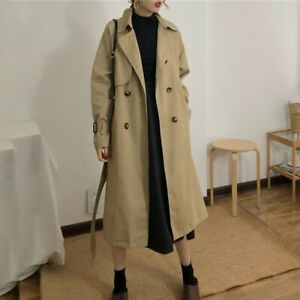 Womens Trench Coat Long Double Breasted Belted Chic Jacket Parka Vintage